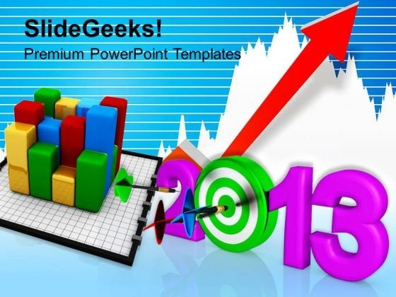 Dart Hitting New Year Sales Marketing PowerPoint Templates Ppt Backgrounds For Slides 1112
