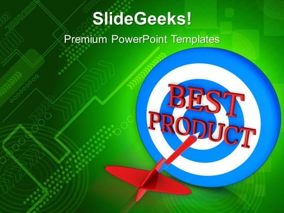 Dart On A Target Of Best Product Advertising PowerPoint Templates And PowerPoint Themes 1012