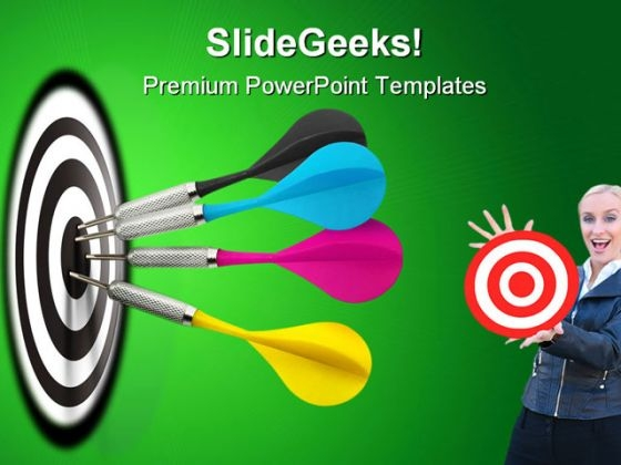 Darts Hitting Target Business PowerPoint Templates And PowerPoint Backgrounds 0611