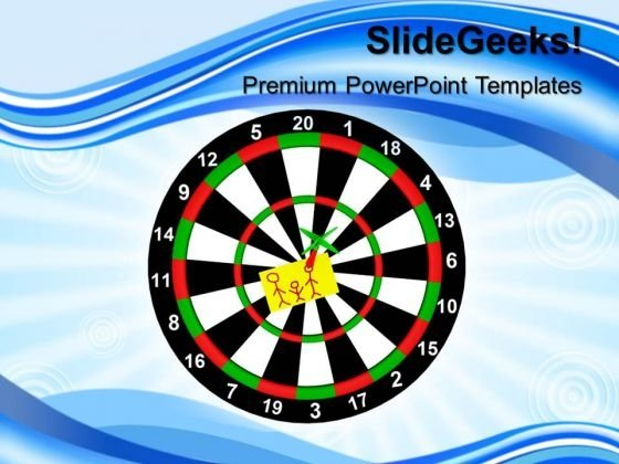 Darts With Stickers Hitting The Target PowerPoint Templates And PowerPoint Themes 1012