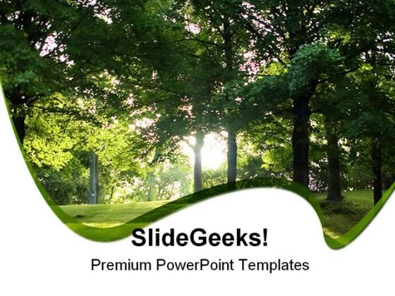 Dawn Sunbeams In Forest Nature PowerPoint Themes And PowerPoint Slides 0411