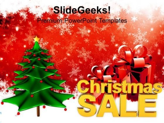 Decorative Christmas Tree Sale Shopping PowerPoint Templates Ppt Backgrounds For Slides 1112
