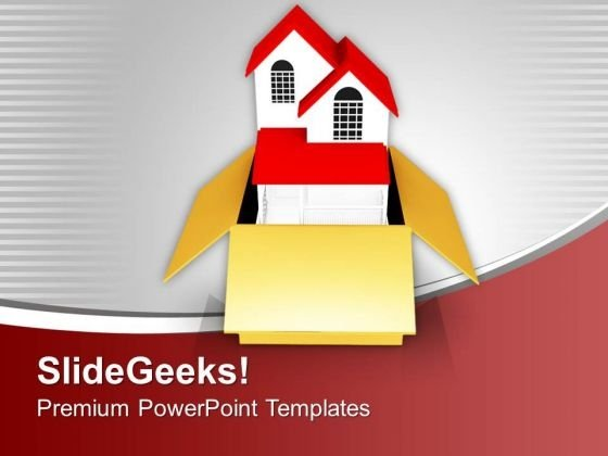 Delivery Of New House In Box PowerPoint Templates Ppt Backgrounds For Slides 0213