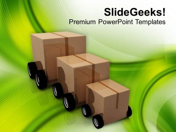 Delivery Of Products On Small Car PowerPoint Templates Ppt Backgrounds For Slides 0413