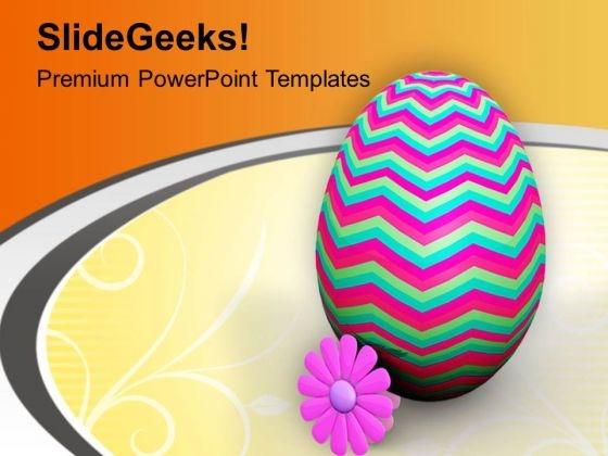 Designer Easter Egg With Pink Flower PowerPoint Templates Ppt Backgrounds For Slides 0813