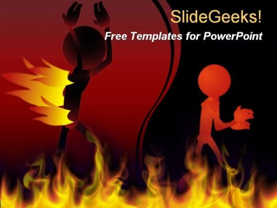 Walking Fire Man PowerPoint Template