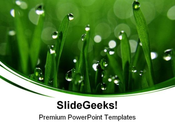 Dew Drops Green Nature PowerPoint Themes And PowerPoint Slides 0511