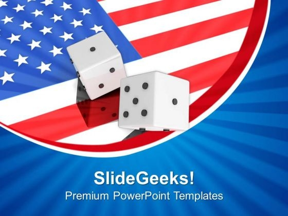 dice with american flag powerpoint templates ppt backgrounds for
