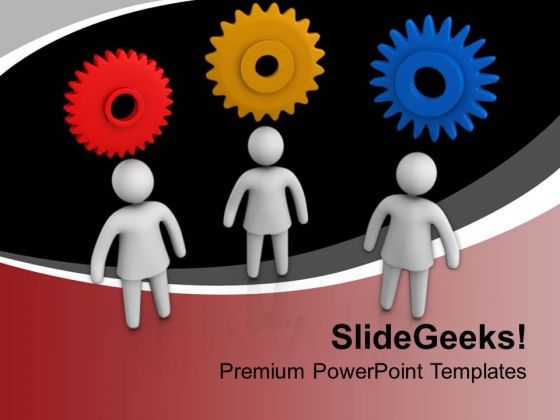Different People With Gear Thoughts PowerPoint Templates Ppt Backgrounds For Slides 0813