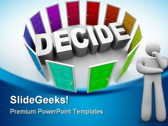 Difficult To Decide Metaphor PowerPoint Backgrounds And Templates 1210