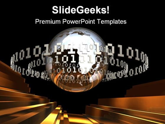 Digital Earth With Code Global PowerPoint Themes And PowerPoint Slides 0611