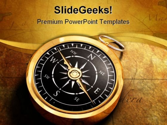 Directions Compass Map Globe PowerPoint Template 1110
