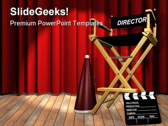 Director Chair Entertainment PowerPoint Templates And PowerPoint Backgrounds 0611