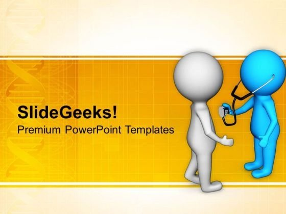 Doctor Checking Patient With Stethoscope PowerPoint Templates Ppt Backgrounds For Slides 0813