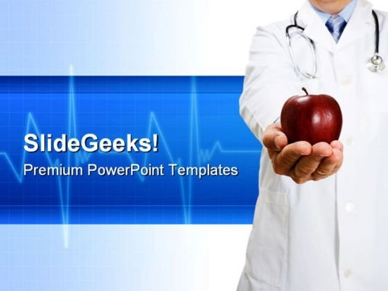 Doctor Holding An Apple Health PowerPoint Templates And PowerPoint Backgrounds 0311