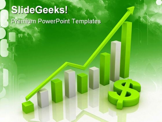 Dollar Graph Business PowerPoint Background And Template 1210