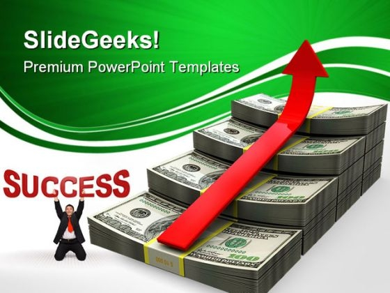 Dollar Ladder With Arrow Success PowerPoint Themes And PowerPoint Slides 0411