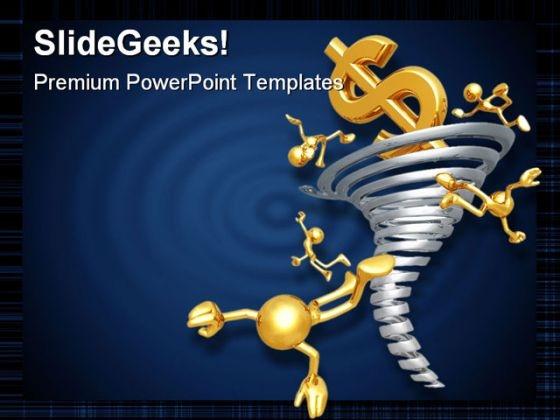 Dollar Tornado Money PowerPoint Template 0910
