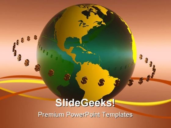 Dollar World Globe PowerPoint Background And Template 1210
