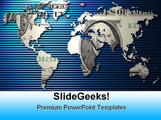 Dollar World Money PowerPoint Template 1010