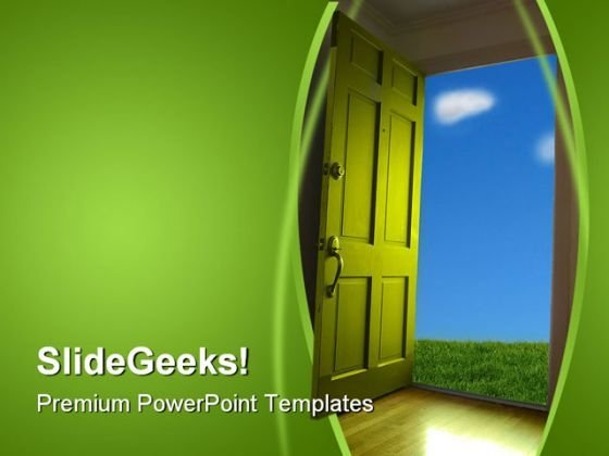 Door Nature PowerPoint Template 1110