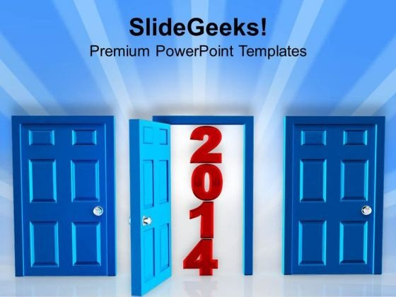 Door Open For Year 2014 PowerPoint Template 1113