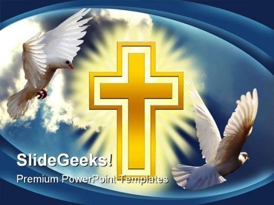 Dove Cross Light Religion PowerPoint Template 0610