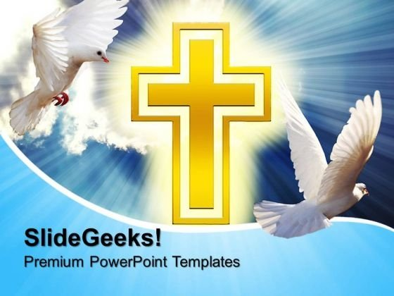 Doves With Cross Christian PowerPoint Templates And PowerPoint Themes 0712
