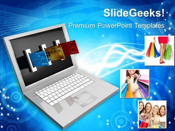 E Commerce Laptop And Credit Card Internet PowerPoint Templates And PowerPoint Themes 1012