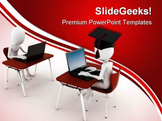 E Learning With People Computer PowerPoint Templates And PowerPoint Backgrounds 0311