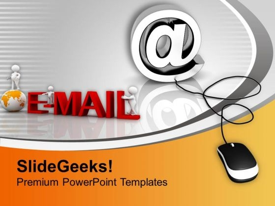 E Mail Symbol Connected To Mouse PowerPoint Templates Ppt Backgrounds For Slides 0213
