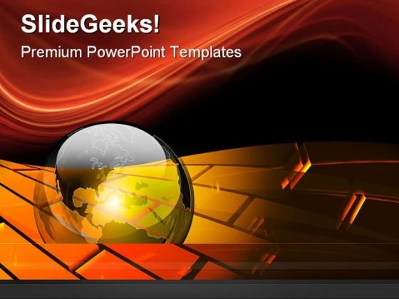 Earth And Flowing Bricks Globe PowerPoint Themes And PowerPoint Slides 0511