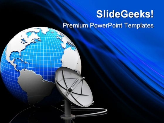Earth And Satellite Antenna Technology PowerPoint Templates And PowerPoint Backgrounds 0411