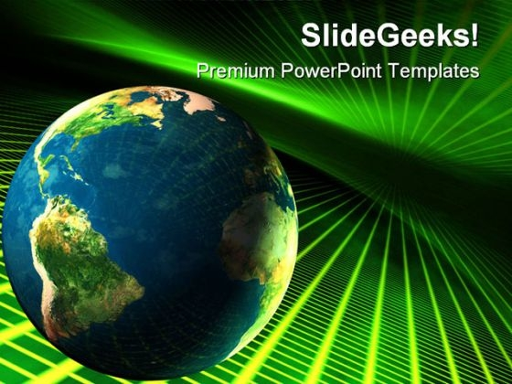 Earth In Cyberspace Globe PowerPoint Themes And PowerPoint Slides 0611