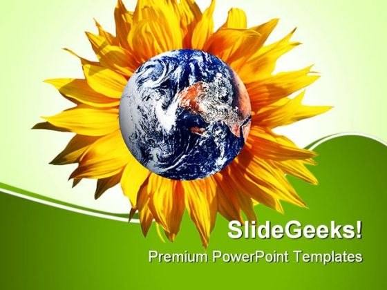 Earth With Flower Nature PowerPoint Themes And PowerPoint Slides 0511
