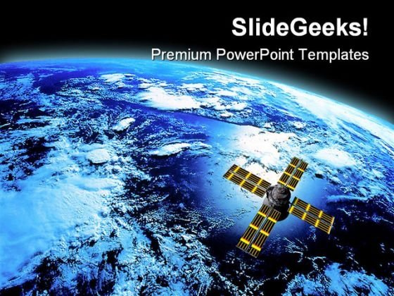 Earth With Satellite Global PowerPoint Themes And PowerPoint Slides 0611