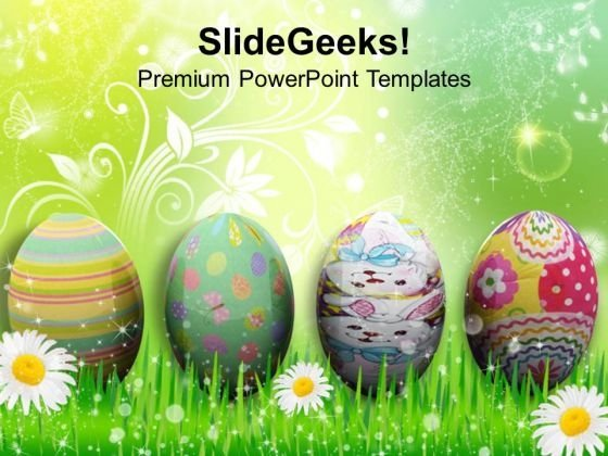 Easter Background With Easter Eggs In Grass PowerPoint Templates Ppt Backgrounds For Slides 0313
