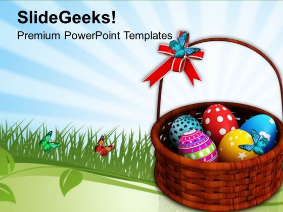 Easter Eggs In Basket With Bow PowerPoint Templates Ppt Backgrounds For Slides 0313