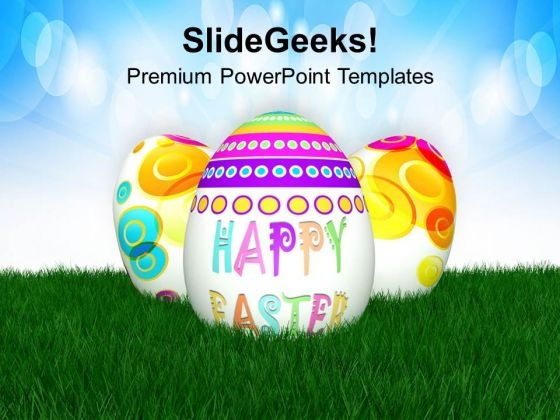 Easter Eggs With 3d View PowerPoint Templates Ppt Backgrounds For Slides 0313