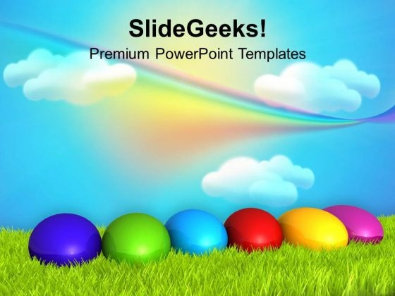 Easter Eggs With Rainbow Theme PowerPoint Templates Ppt Backgrounds For Slides 0313