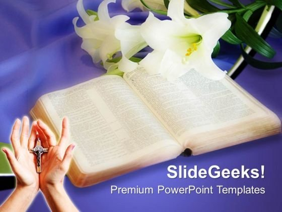 Easter Lily And Bible Christian PowerPoint Templates And PowerPoint Themes 0712
