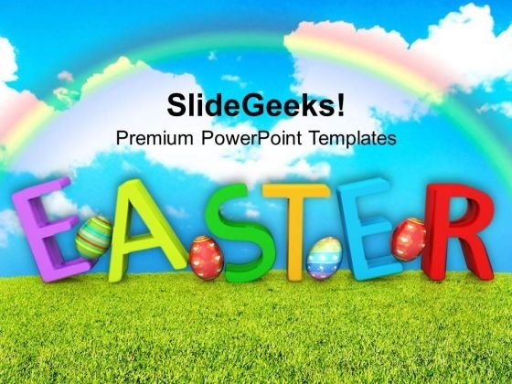 Easter Wishes With Rainbow Colored Background PowerPoint Templates Ppt Backgrounds For Slides 0313