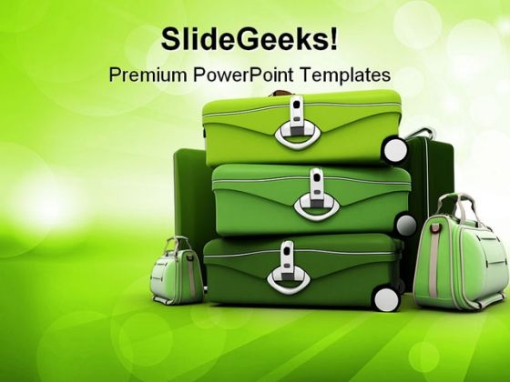 Elegant Green Baggage Holidays PowerPoint Templates And PowerPoint Backgrounds 0211