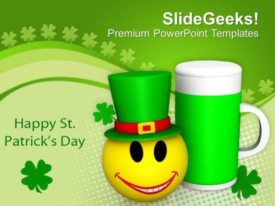 Emoticon Cheering With Beer Mug Celebration PowerPoint Templates Ppt Backgrounds For Slides 0213
