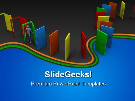 Endless Doors In A Row Metaphor PowerPoint Themes And PowerPoint Slides 0411