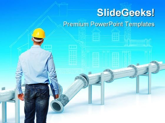 Engineer At Work Construction PowerPoint Themes And PowerPoint Slides 0411