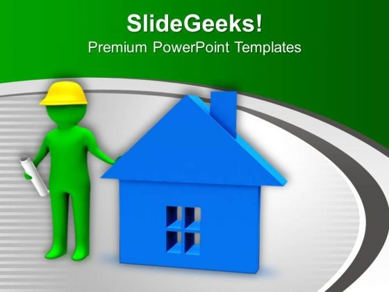 Engineer Can Build Beautiful House Growth PowerPoint Templates Ppt Backgrounds For Slides 0713