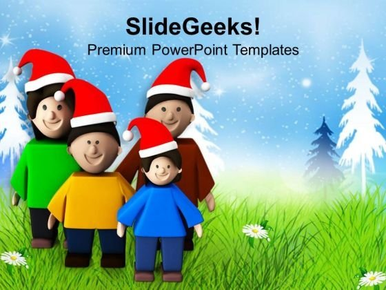 Enjoy Christmas Holidays With Family PowerPoint Templates Ppt Backgrounds For Slides 0613