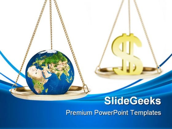 Environment Versus Profit Globe PowerPoint Backgrounds And Templates 1210