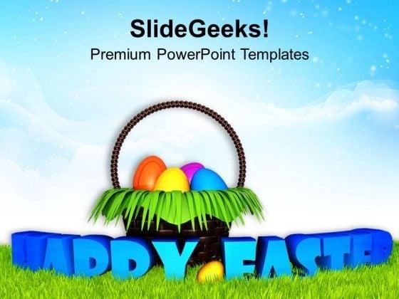 Ester With Surprise Egg Basket Garden PowerPoint Templates Ppt Backgrounds For Slides 0313